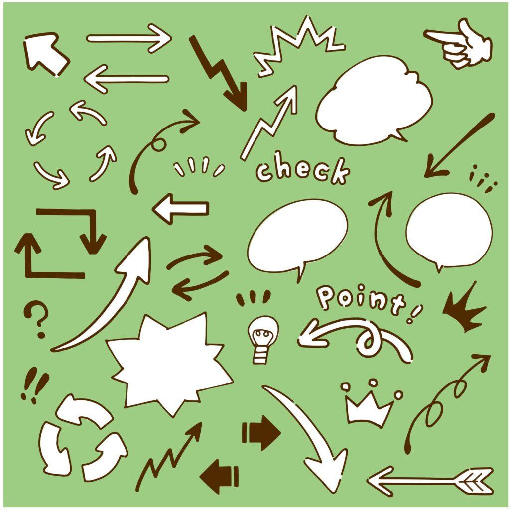 Hand drawn wind arrow and speech bubble illustration set vector