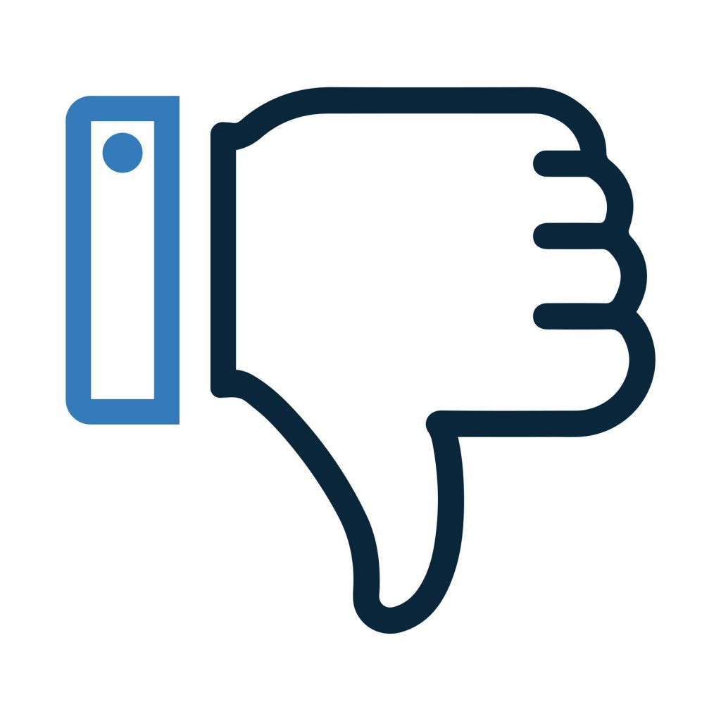 Thumbs down icon in blue and black.