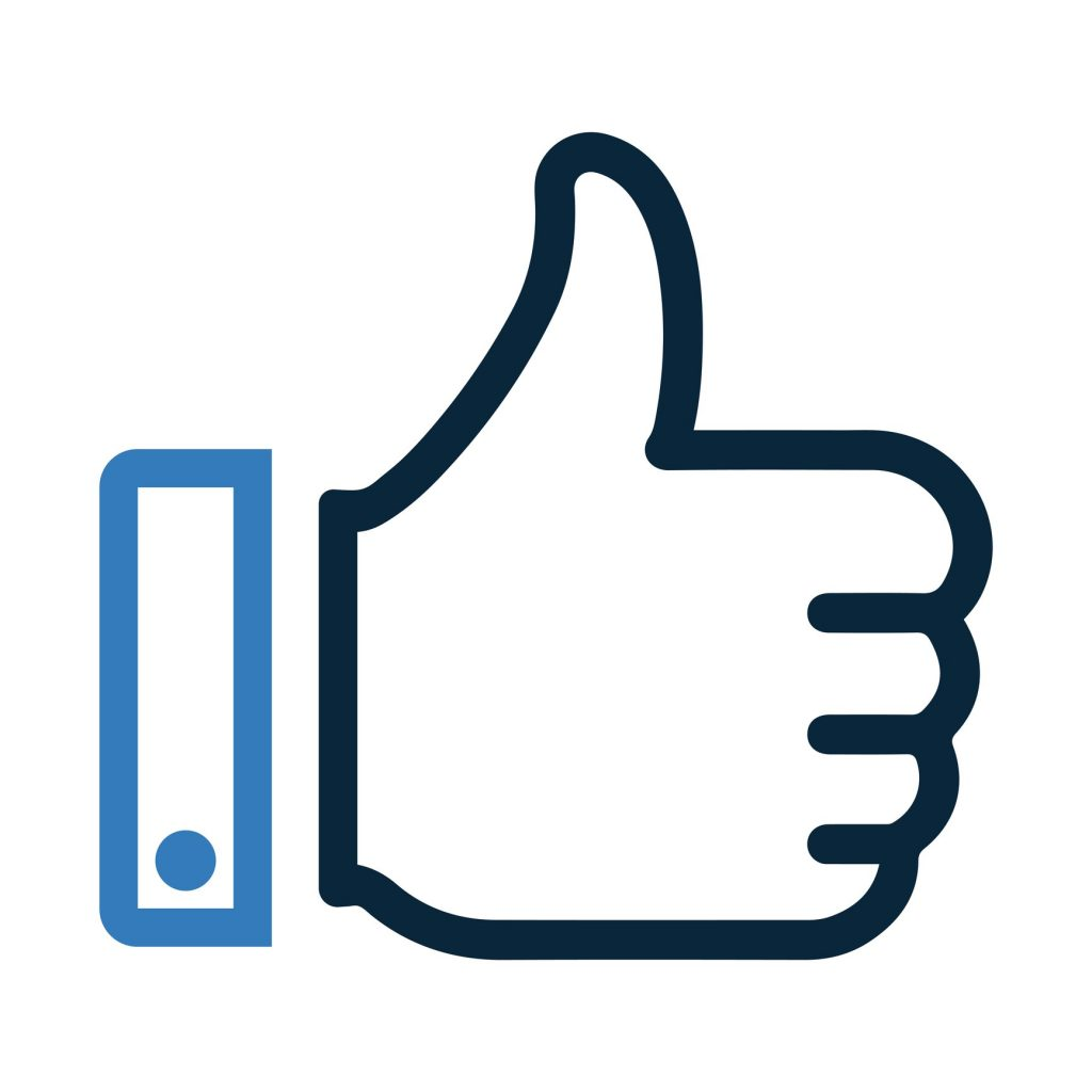 Thumbs up icon in blue and black.