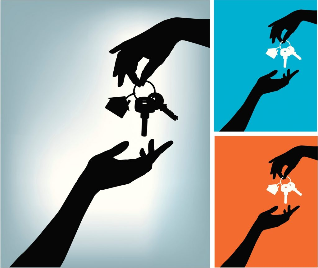 Illustration of one hand giving a home keys to another one.