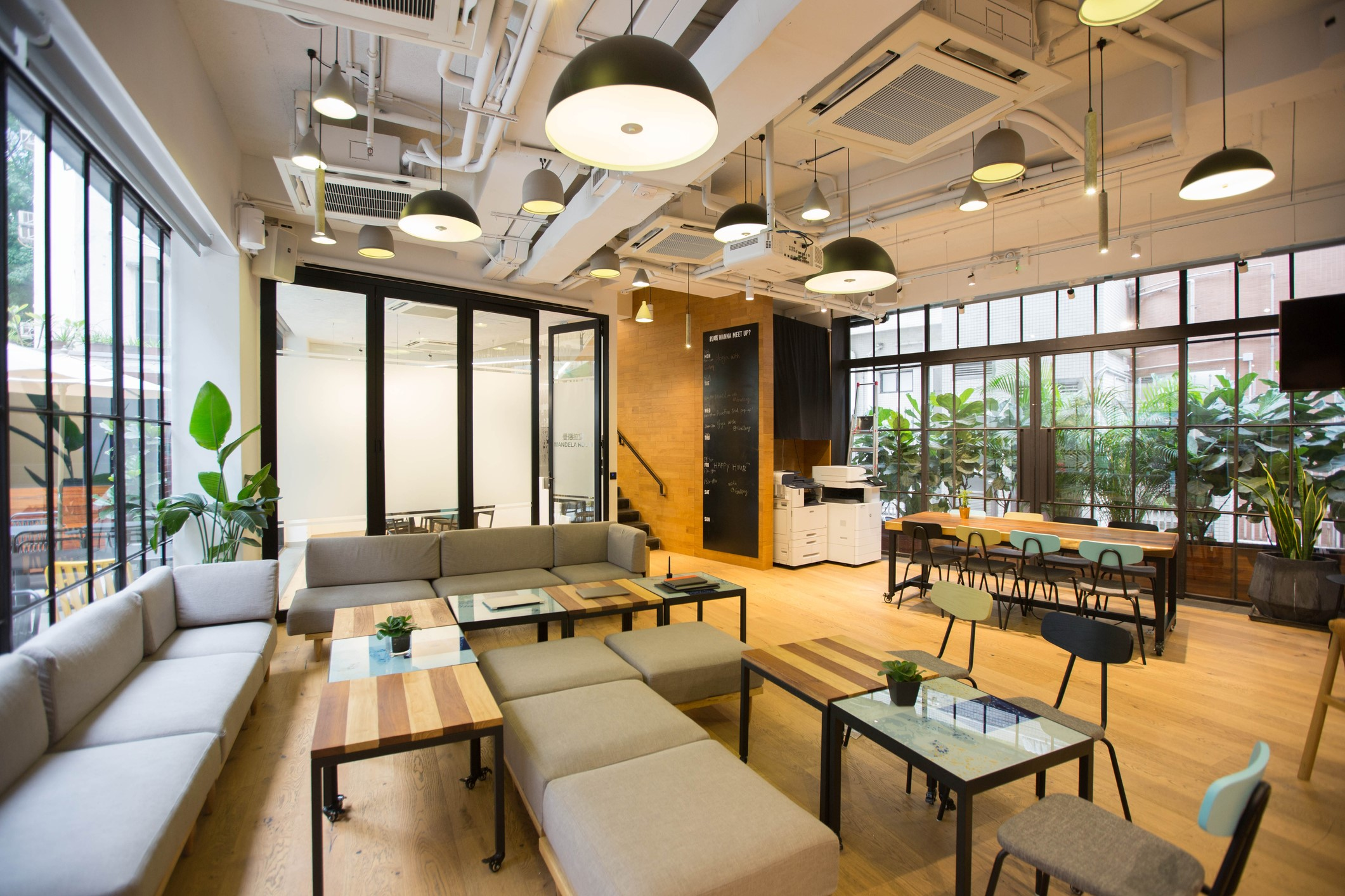 Well-designed coworking area with no people