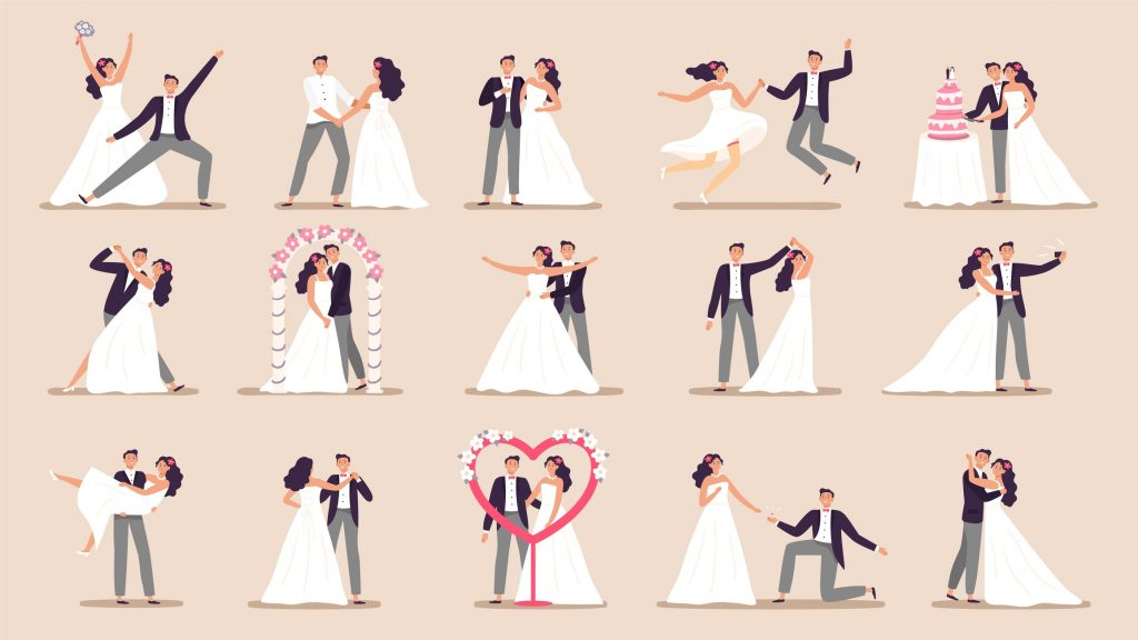 Wedding couples. Bride in wedding dress, just married couple and marriage ceremony cartoon vector illustration set. Bride and groom, couple marriage ceremony